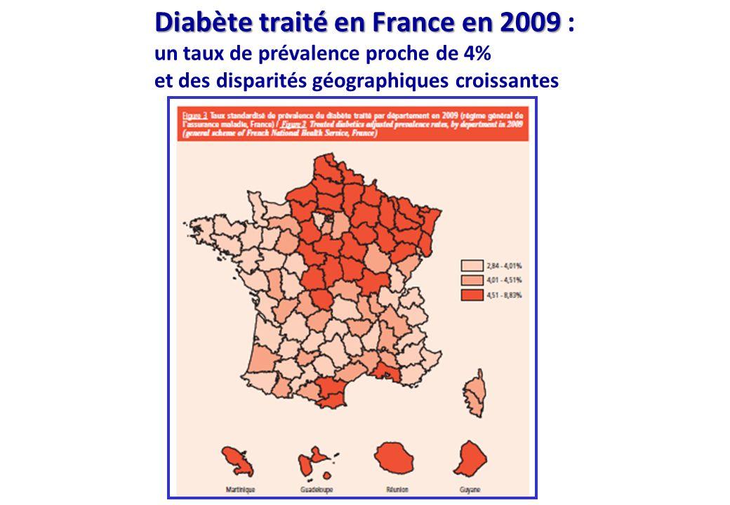 Diabète traité en France en 2009 : un taux de prévalence proche de 4% et des disparités géographiques croissantes