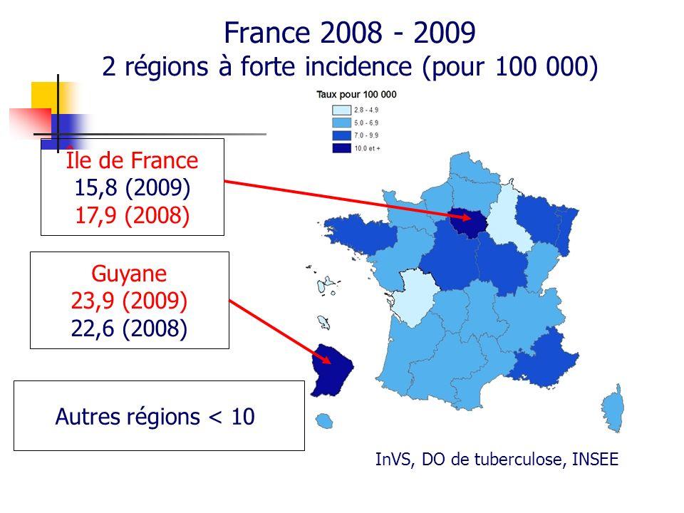 France 2008 - 2009 2 régions à forte incidence (pour 100 000)