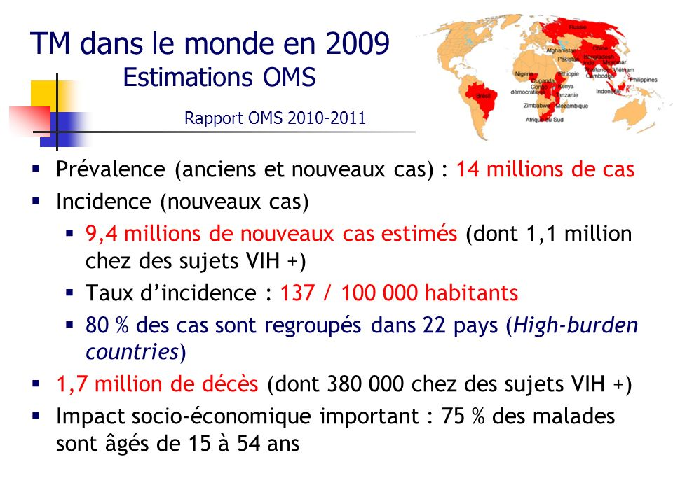 TM dans le monde en 2009 Estimations OMS