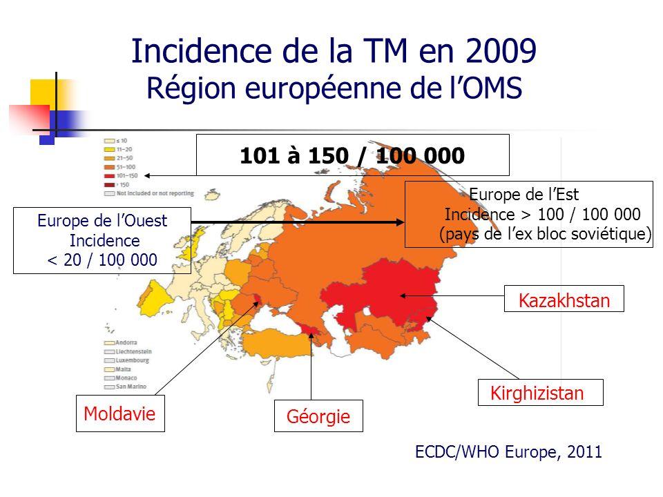 Incidence de la TM en 2009 Région européenne de l'OMS