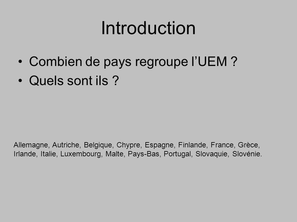 Introduction Combien de pays regroupe l'UEM Quels sont ils