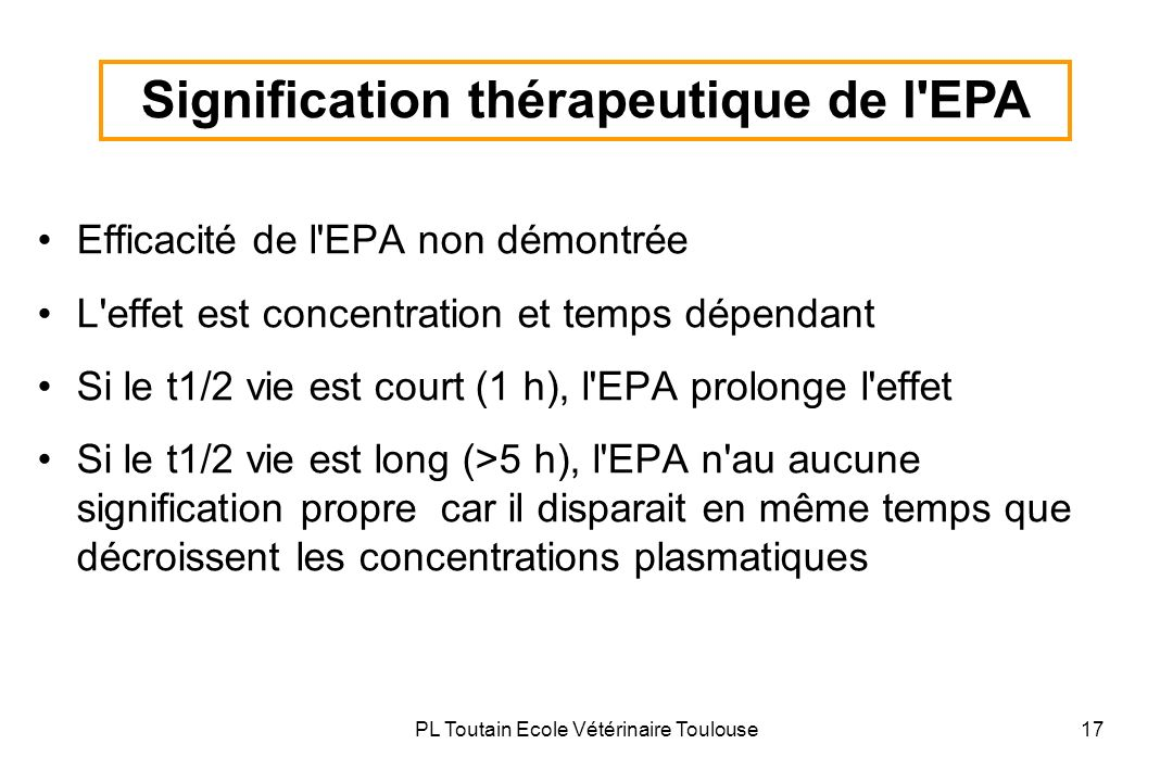 Signification thérapeutique de l EPA