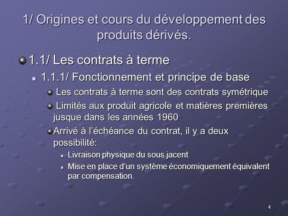 1/ Origines et cours du développement des produits dérivés.