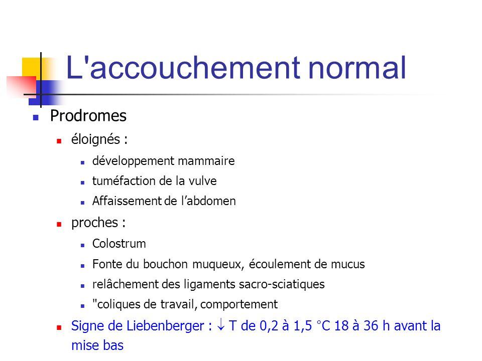 L accouchement normal Prodromes éloignés : proches :