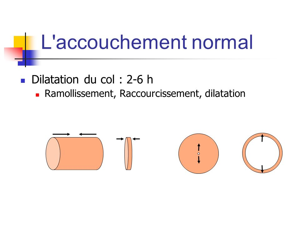 L accouchement normal Dilatation du col : 2-6 h