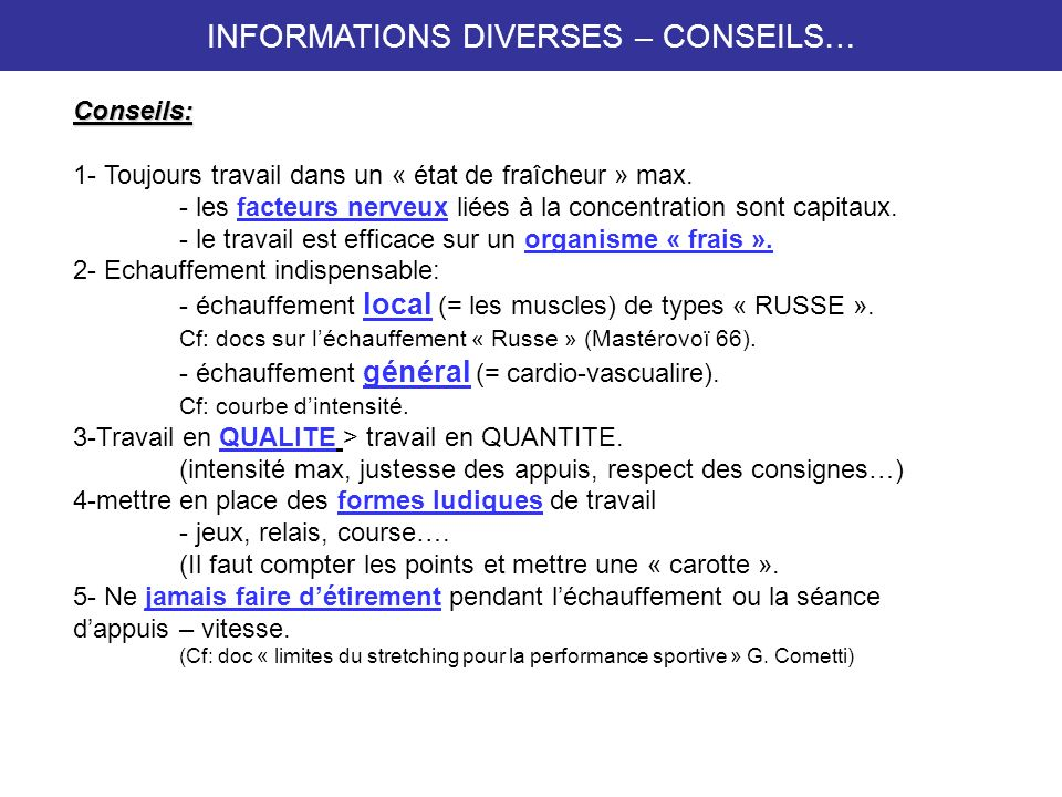 INFORMATIONS DIVERSES – CONSEILS…