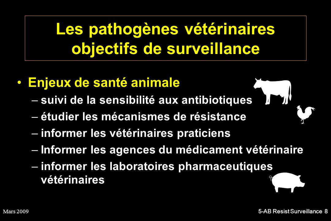 Les pathogènes vétérinaires objectifs de surveillance