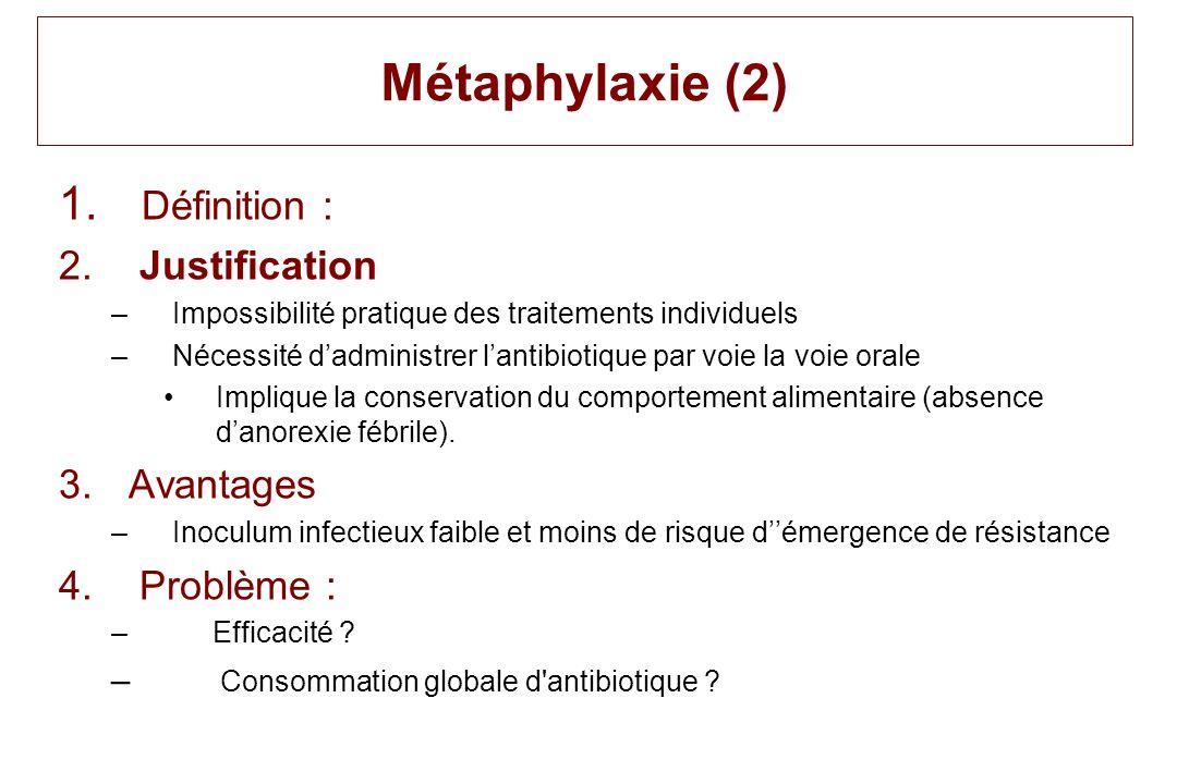 Métaphylaxie (2) Définition : Justification Avantages Problème :