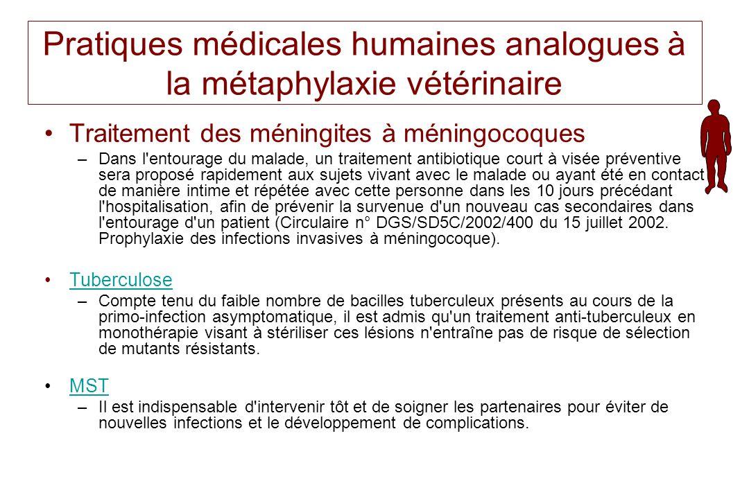 Pratiques médicales humaines analogues à la métaphylaxie vétérinaire