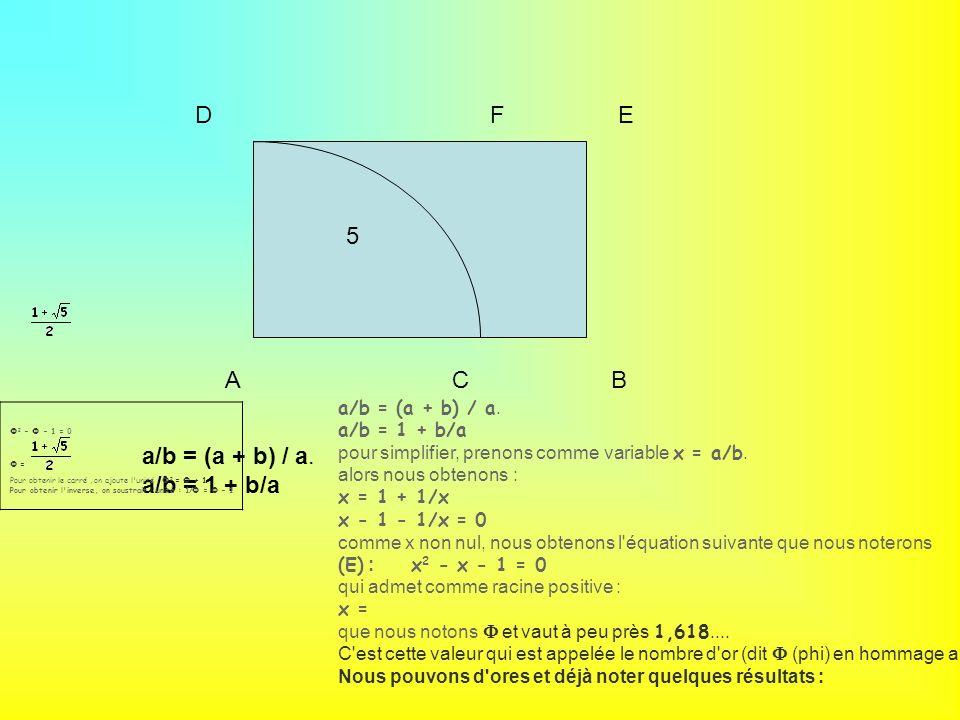 D F E 5 A C B a/b = (a + b) / a. a/b = 1 + b/a