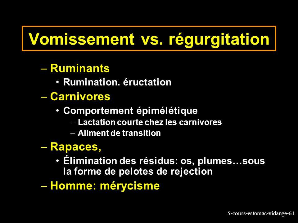 Vomissement vs. régurgitation