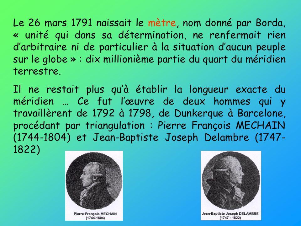 Le 26 mars 1791 naissait le mètre, nom donné par Borda, « unité qui dans sa détermination, ne renfermait rien d'arbitraire ni de particulier à la situation d'aucun peuple sur le globe » : dix millionième partie du quart du méridien terrestre.