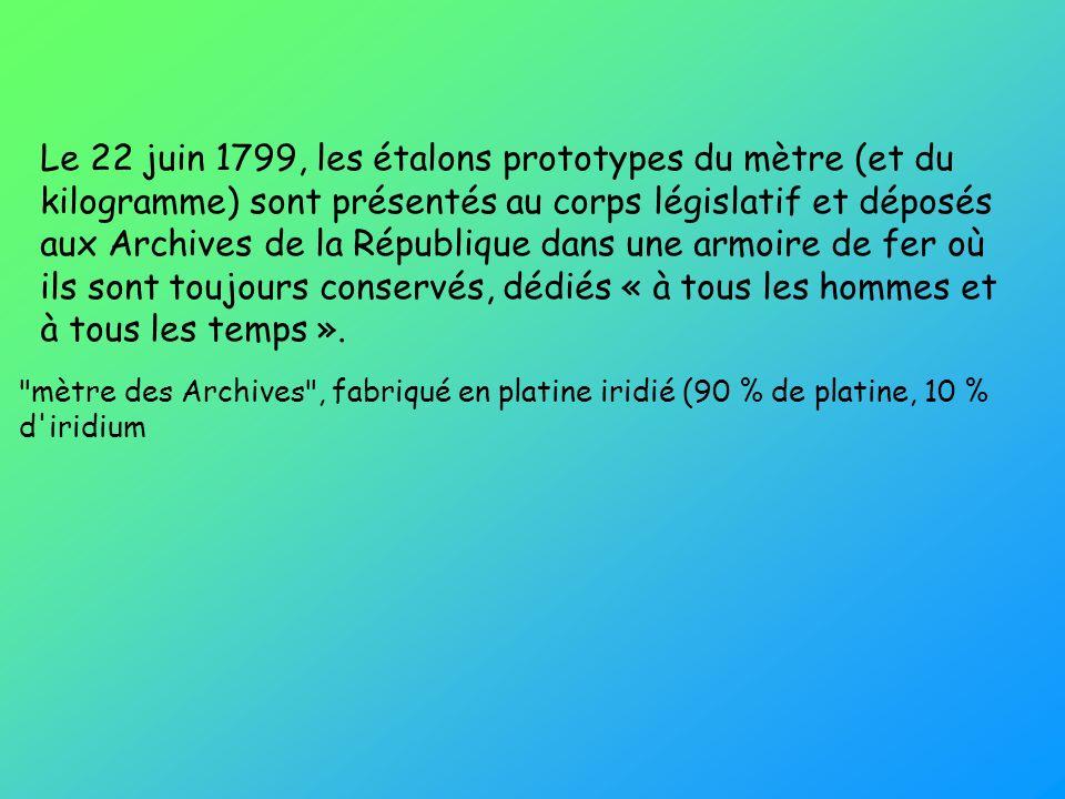 Le 22 juin 1799, les étalons prototypes du mètre (et du kilogramme) sont présentés au corps législatif et déposés aux Archives de la République dans une armoire de fer où ils sont toujours conservés, dédiés « à tous les hommes et à tous les temps ».