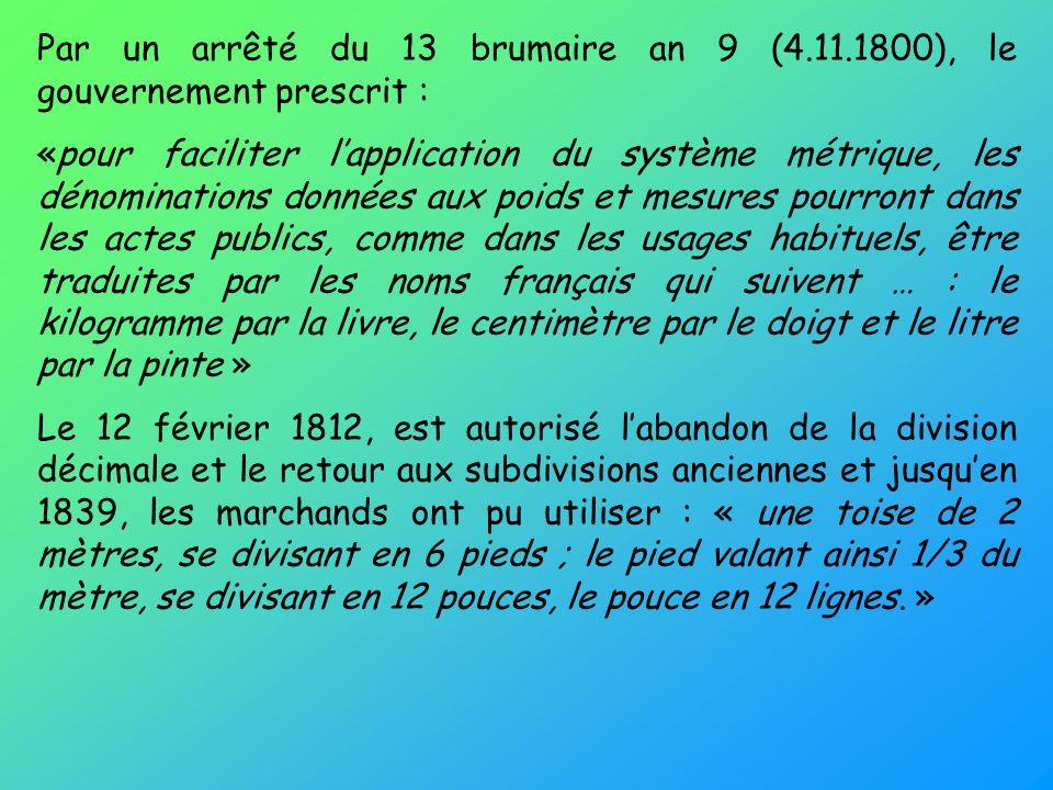Par un arrêté du 13 brumaire an 9 (4. 11