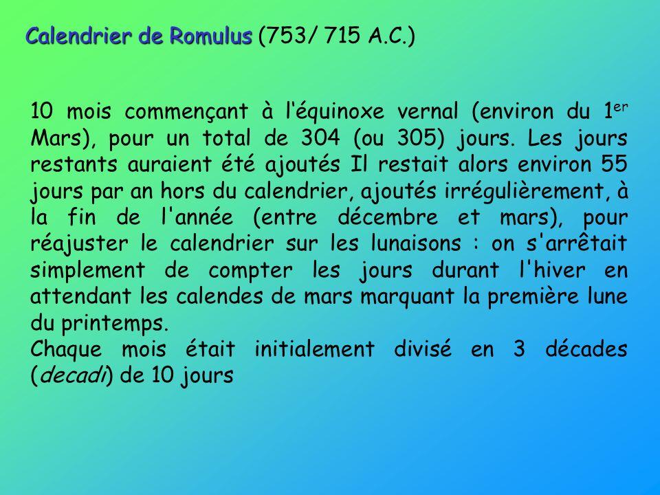 Calendrier de Romulus (753/ 715 A.C.)