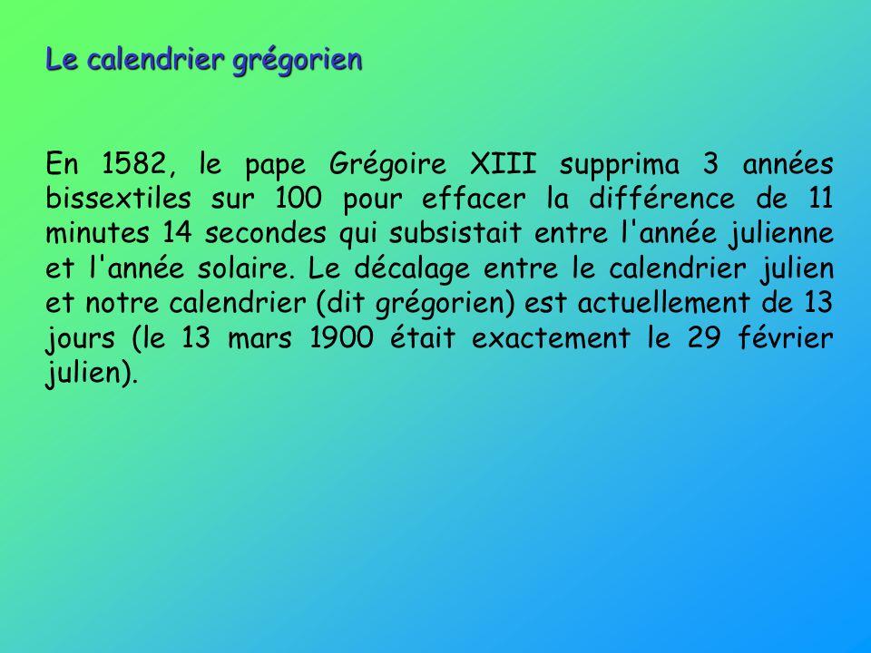 Le calendrier grégorien