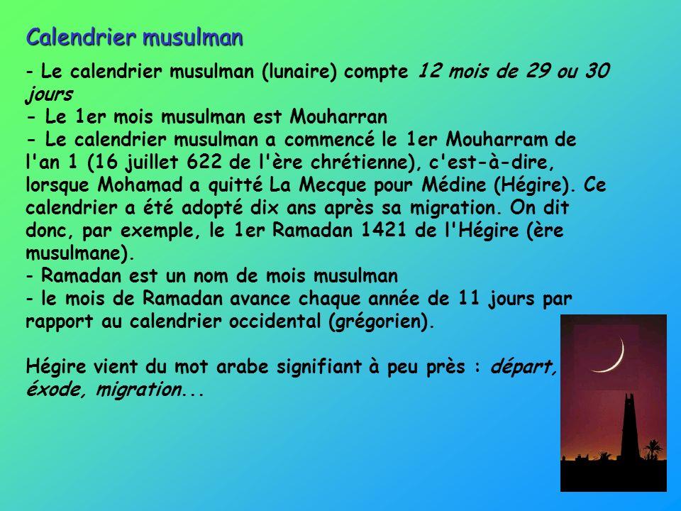 Calendrier musulman Le calendrier musulman (lunaire) compte 12 mois de 29 ou 30 jours - Le 1er mois musulman est Mouharran.