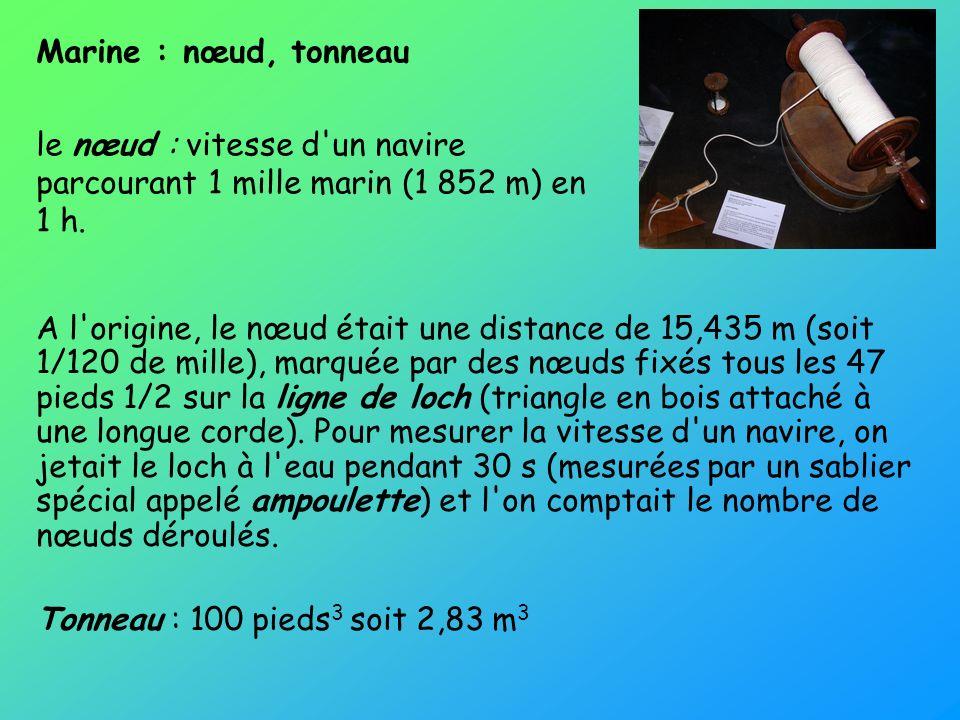Marine : nœud, tonneau le nœud : vitesse d un navire parcourant 1 mille marin (1 852 m) en 1 h.