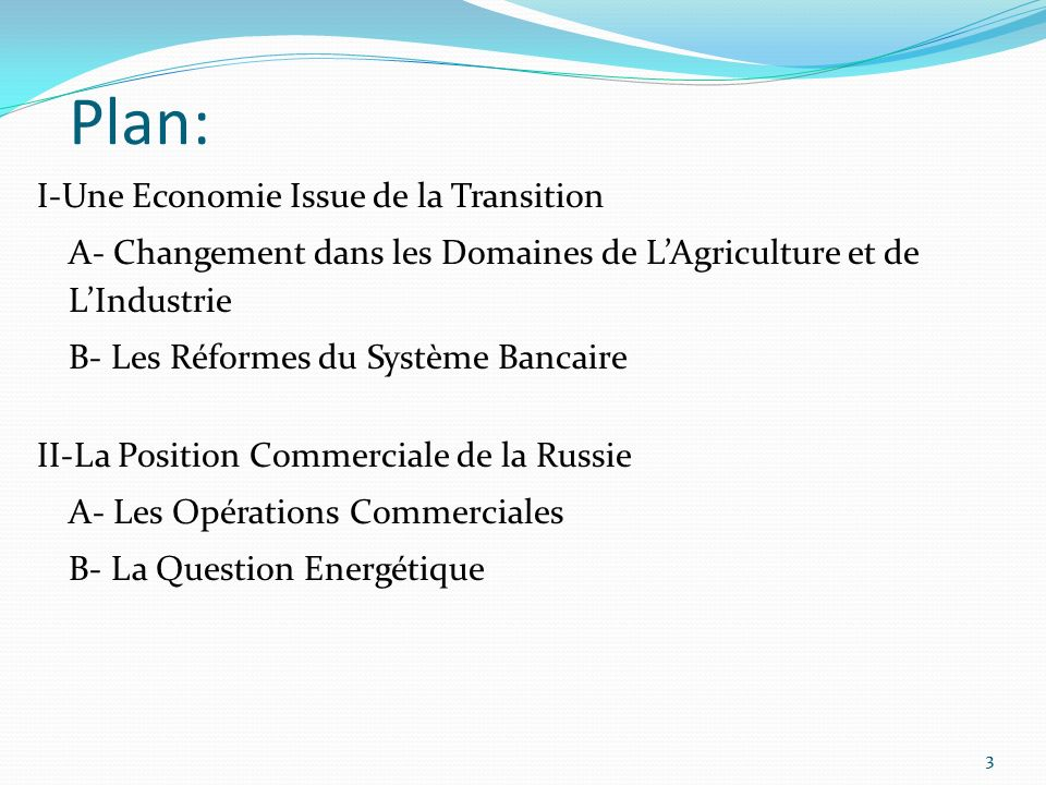 Plan: I-Une Economie Issue de la Transition