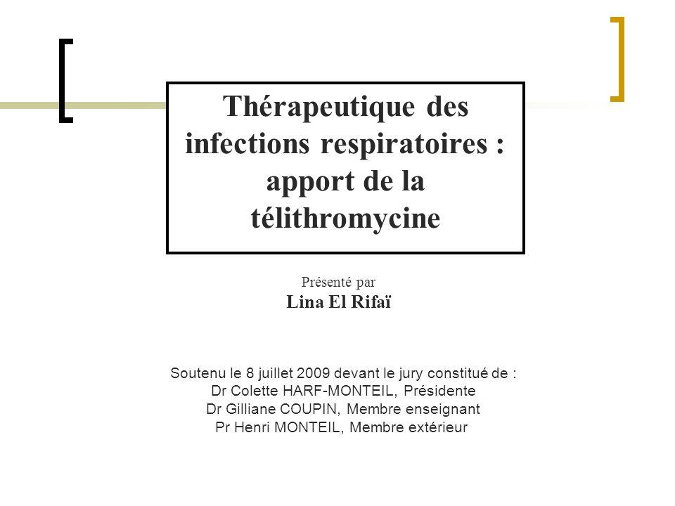 Thérapeutique des infections respiratoires : apport de la télithromycine