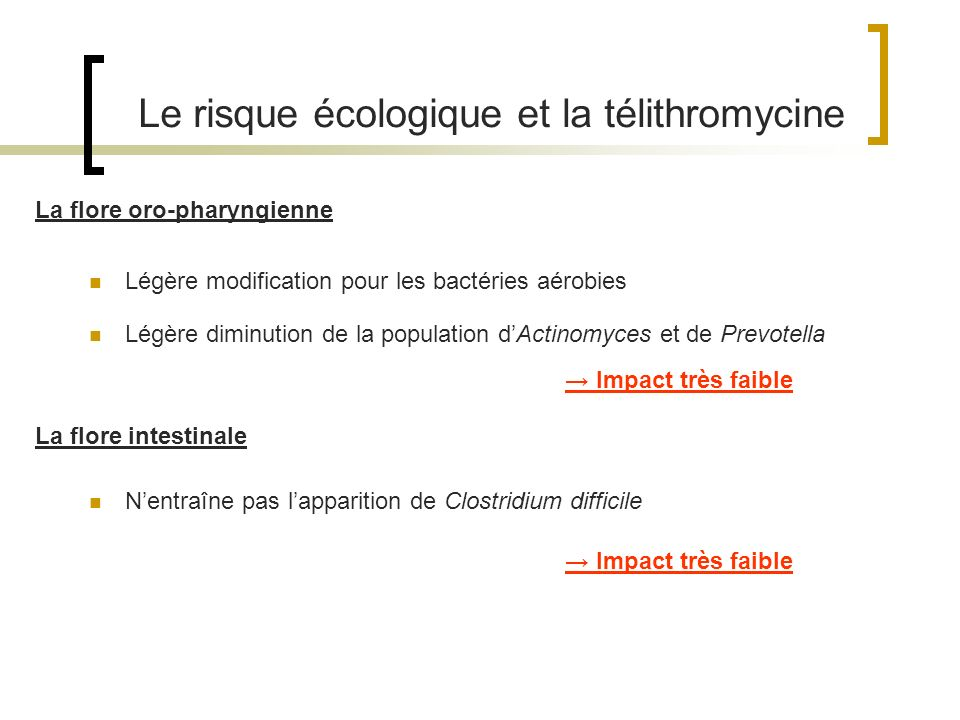 Le risque écologique et la télithromycine