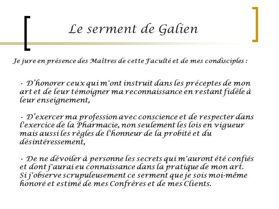 Le serment de Galien Je jure en présence des Maîtres de cette Faculté et de mes condisciples :