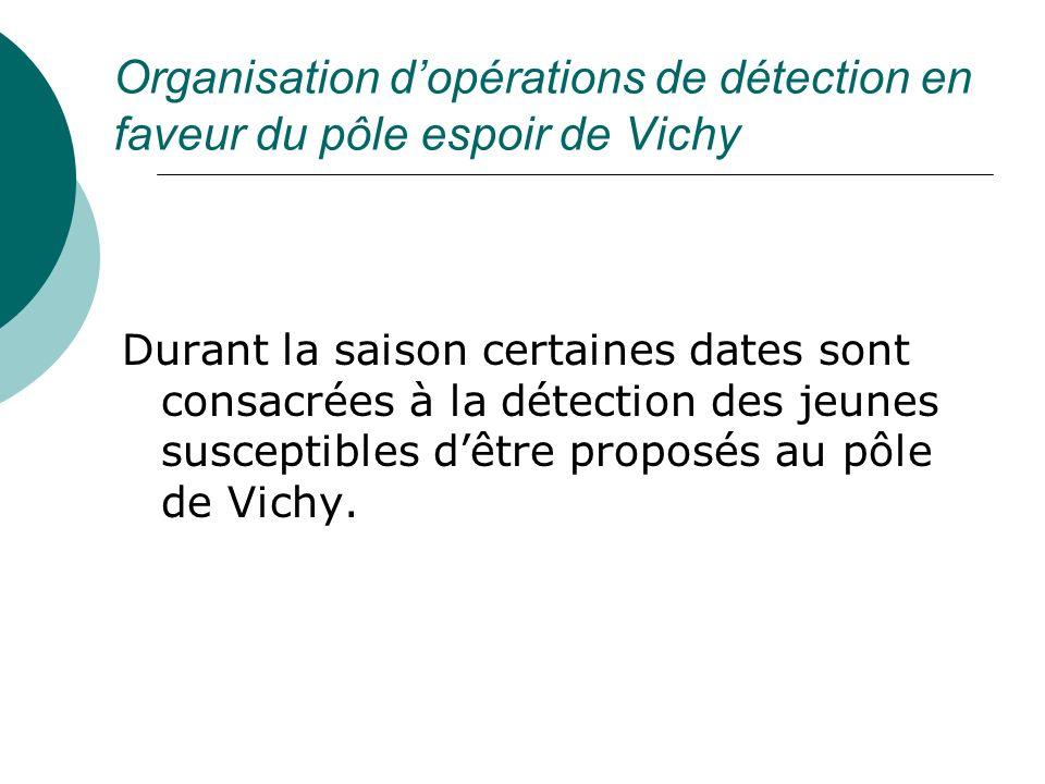 Organisation d'opérations de détection en faveur du pôle espoir de Vichy