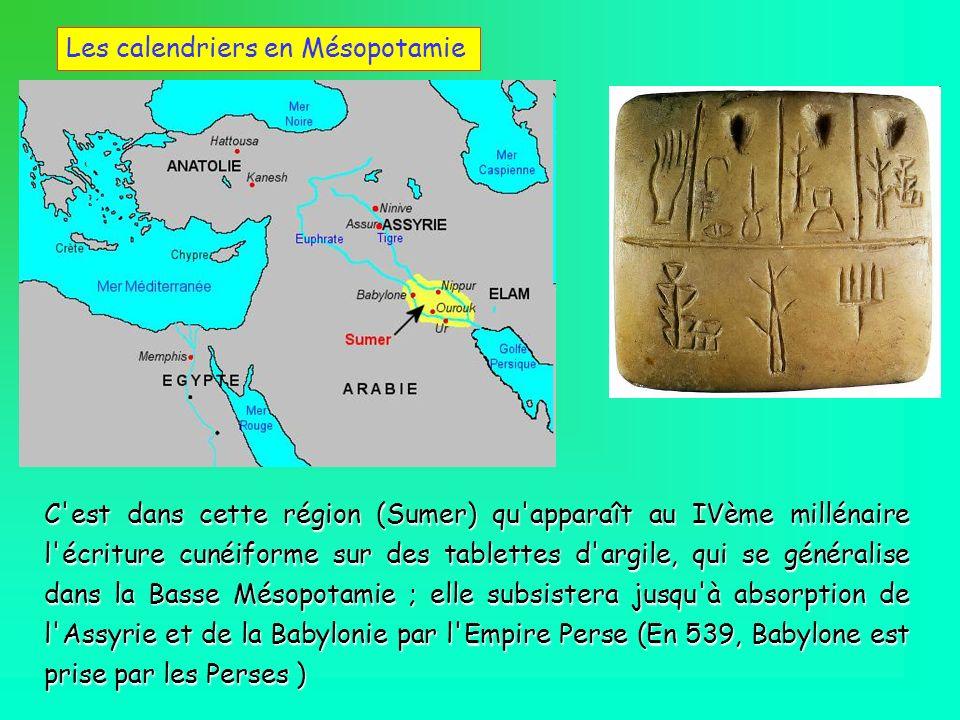 Les calendriers en Mésopotamie