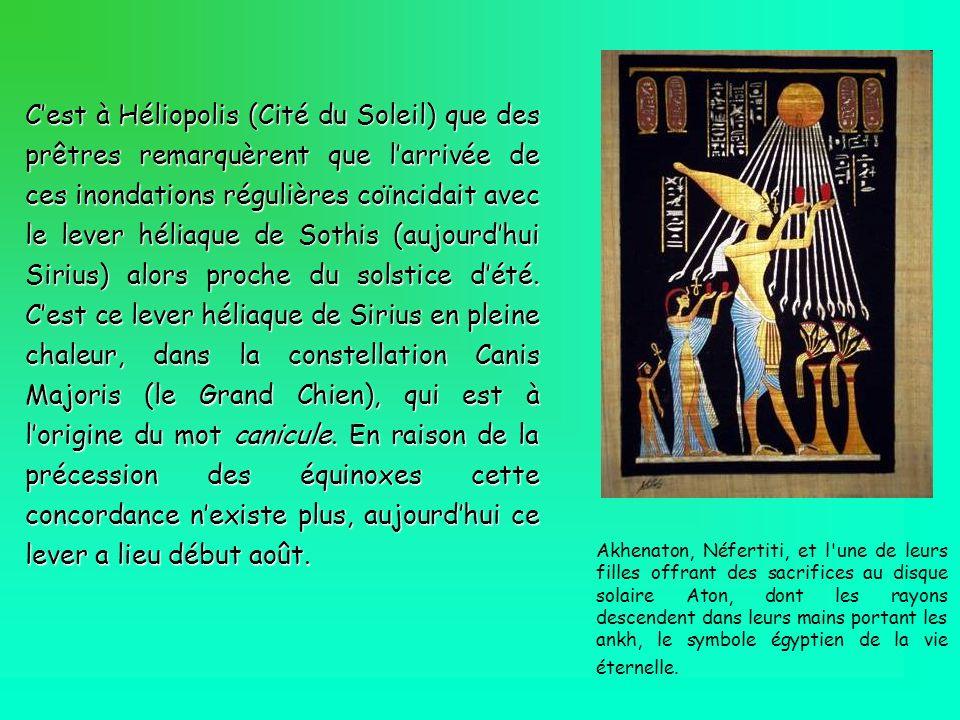C'est à Héliopolis (Cité du Soleil) que des prêtres remarquèrent que l'arrivée de ces inondations régulières coïncidait avec le lever héliaque de Sothis (aujourd'hui Sirius) alors proche du solstice d'été. C'est ce lever héliaque de Sirius en pleine chaleur, dans la constellation Canis Majoris (le Grand Chien), qui est à l'origine du mot canicule. En raison de la précession des équinoxes cette concordance n'existe plus, aujourd'hui ce lever a lieu début août.