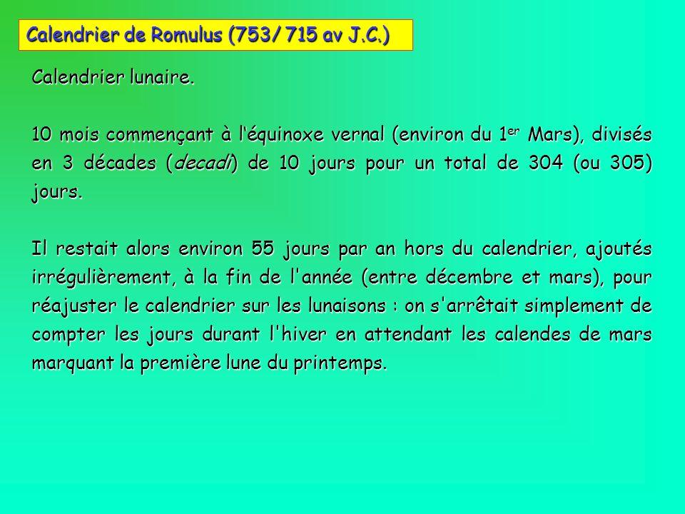 Calendrier de Romulus (753/ 715 av J.C.)