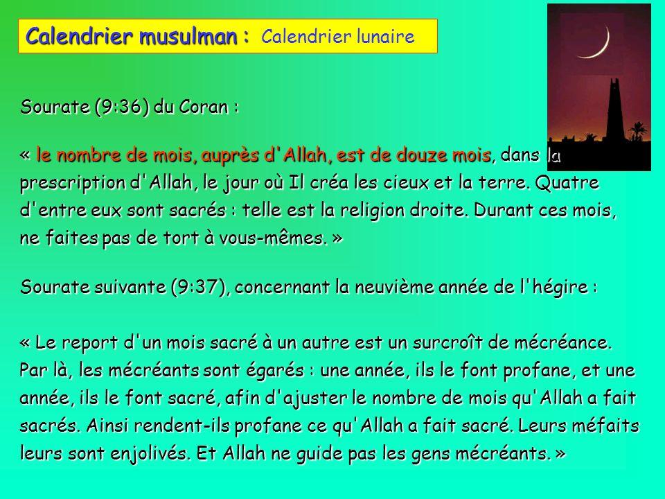 Calendrier musulman : Calendrier lunaire