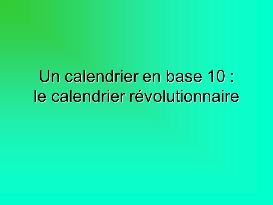 Un calendrier en base 10 : le calendrier révolutionnaire