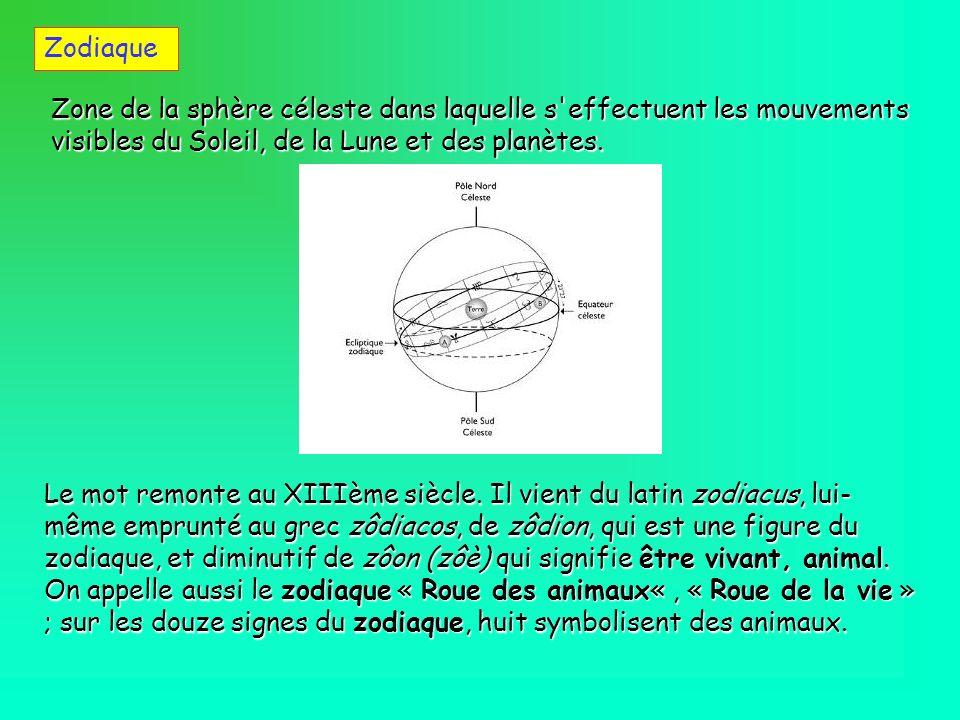 Zodiaque Zone de la sphère céleste dans laquelle s effectuent les mouvements visibles du Soleil, de la Lune et des planètes.