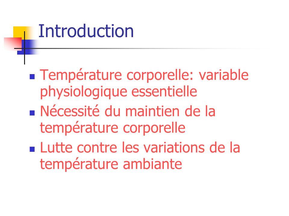 Introduction Température corporelle: variable physiologique essentielle. Nécessité du maintien de la température corporelle.