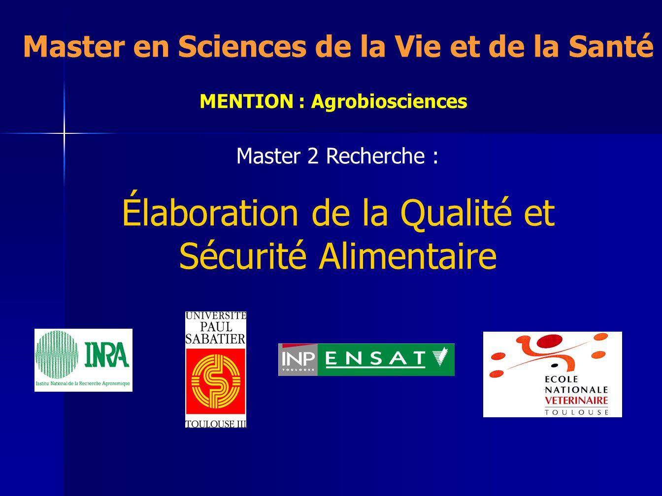 Master en Sciences de la Vie et de la Santé MENTION : Agrobiosciences
