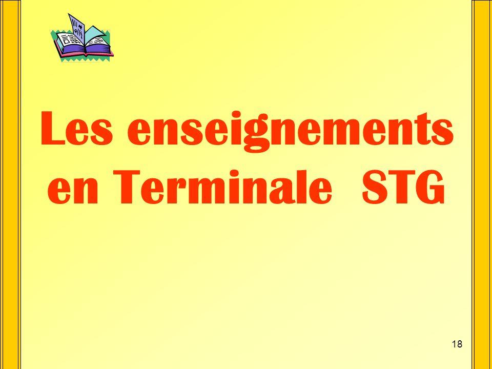 Les enseignements en Terminale STG