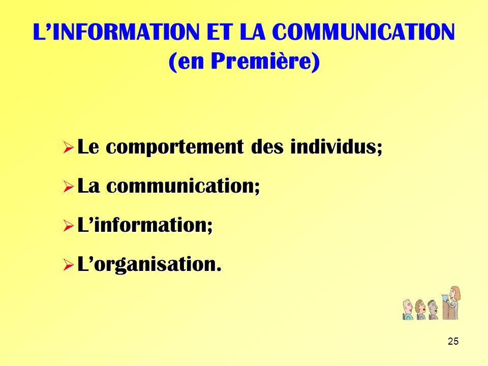 L'INFORMATION ET LA COMMUNICATION (en Première)