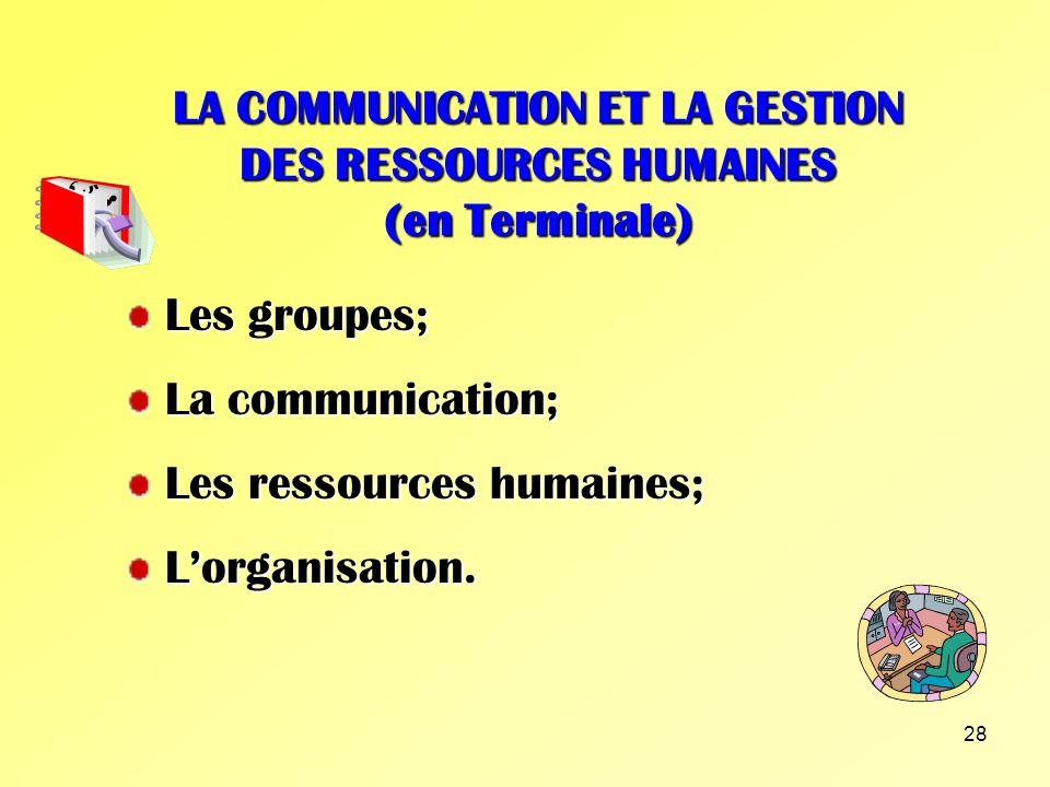 LA COMMUNICATION ET LA GESTION DES RESSOURCES HUMAINES (en Terminale)