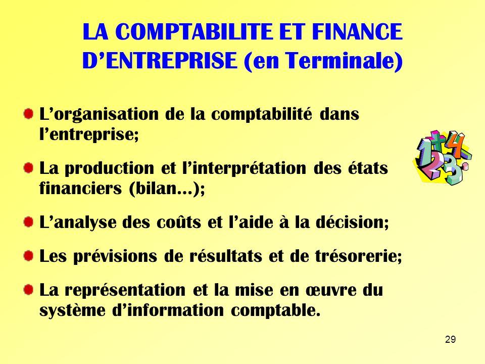 LA COMPTABILITE ET FINANCE D'ENTREPRISE (en Terminale)