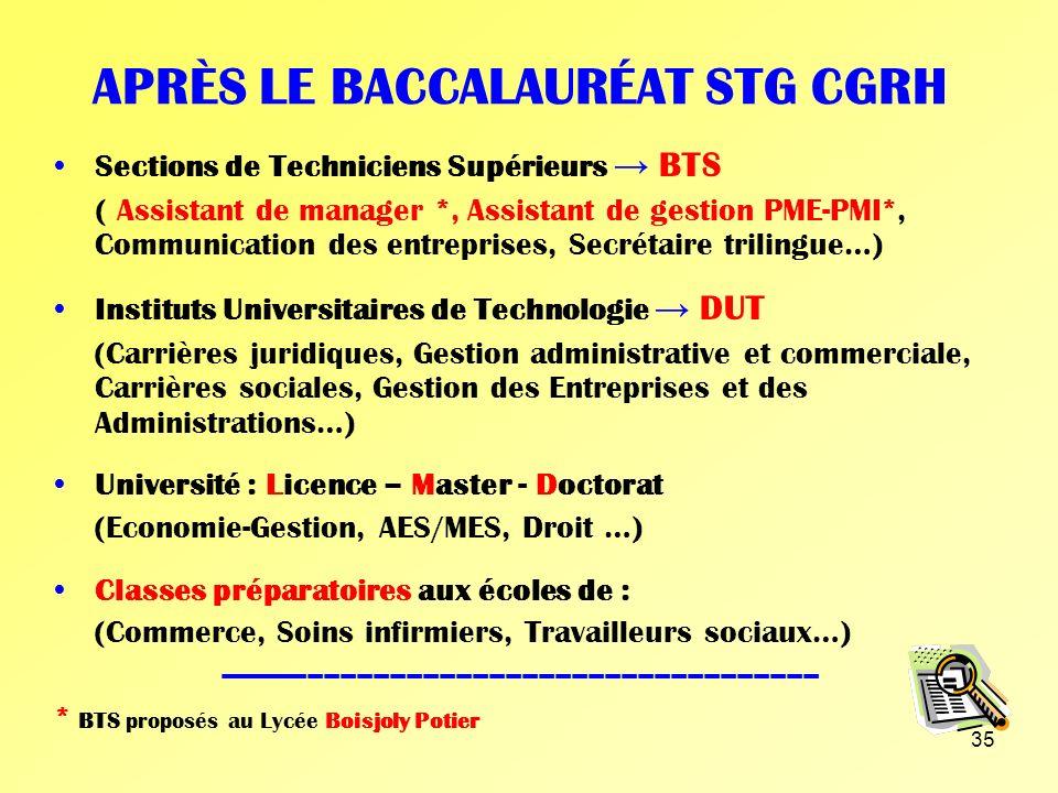 APRÈS LE BACCALAURÉAT STG CGRH