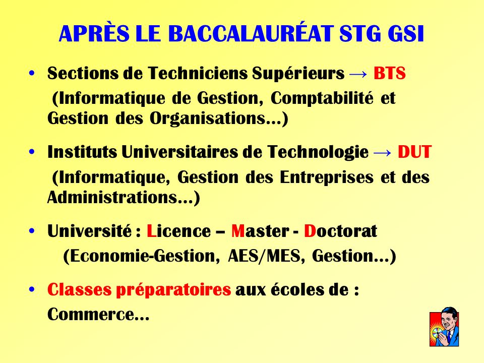 APRÈS LE BACCALAURÉAT STG GSI