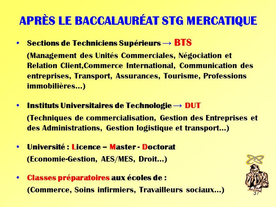 APRÈS LE BACCALAURÉAT STG MERCATIQUE
