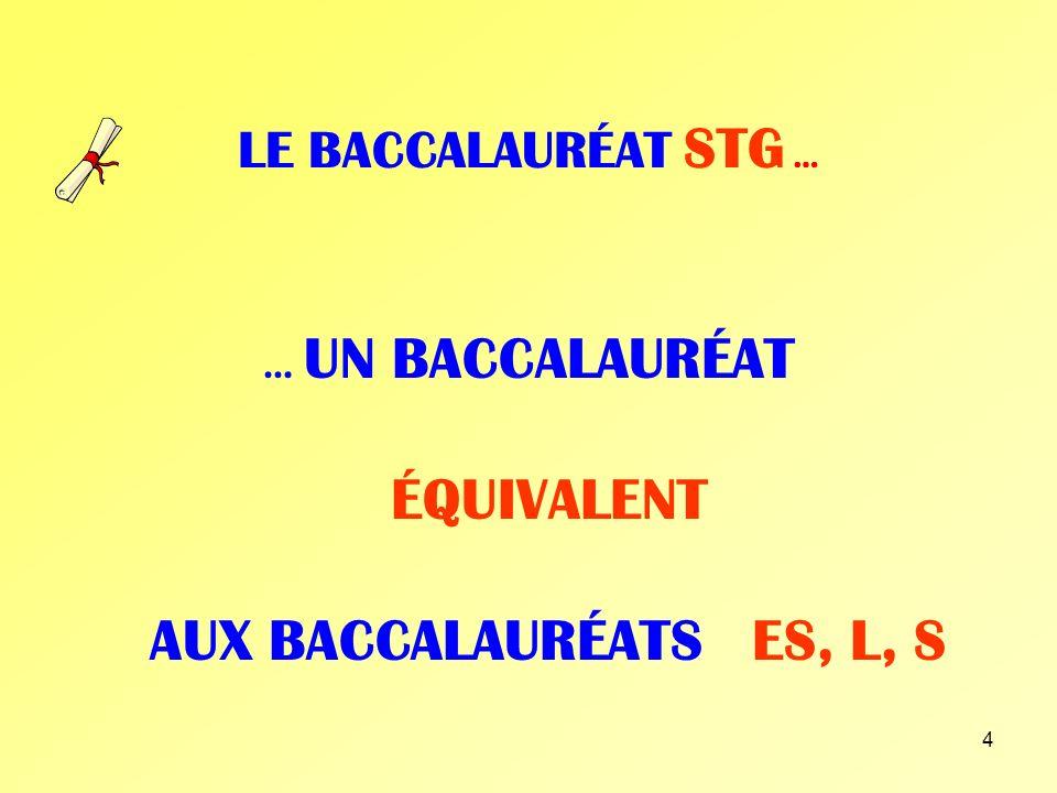 … UN BACCALAURÉAT ÉQUIVALENT AUX BACCALAURÉATS ES, L, S