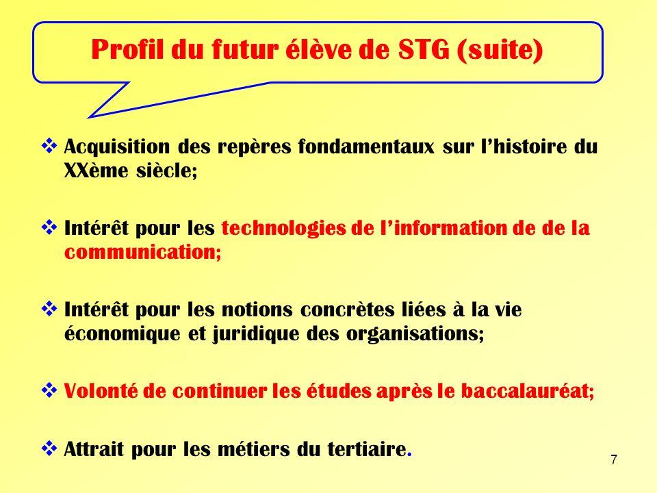 Profil du futur élève de STG (suite)