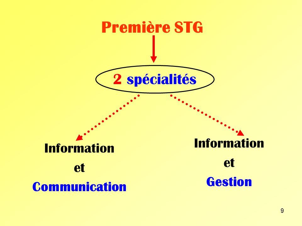 Première STG 2 spécialités Information Information et et Gestion