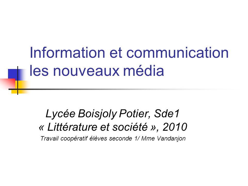 Information et communication les nouveaux média
