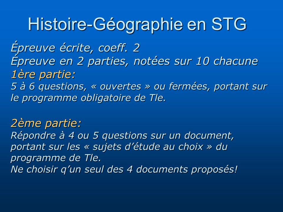 Histoire-Géographie en STG