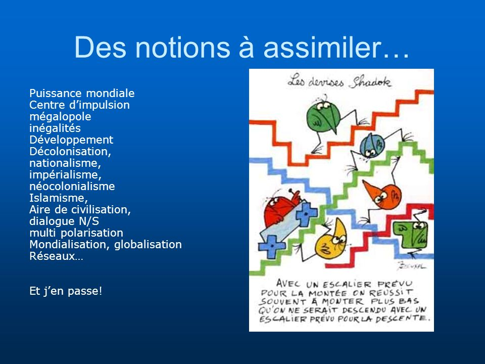 Des notions à assimiler…