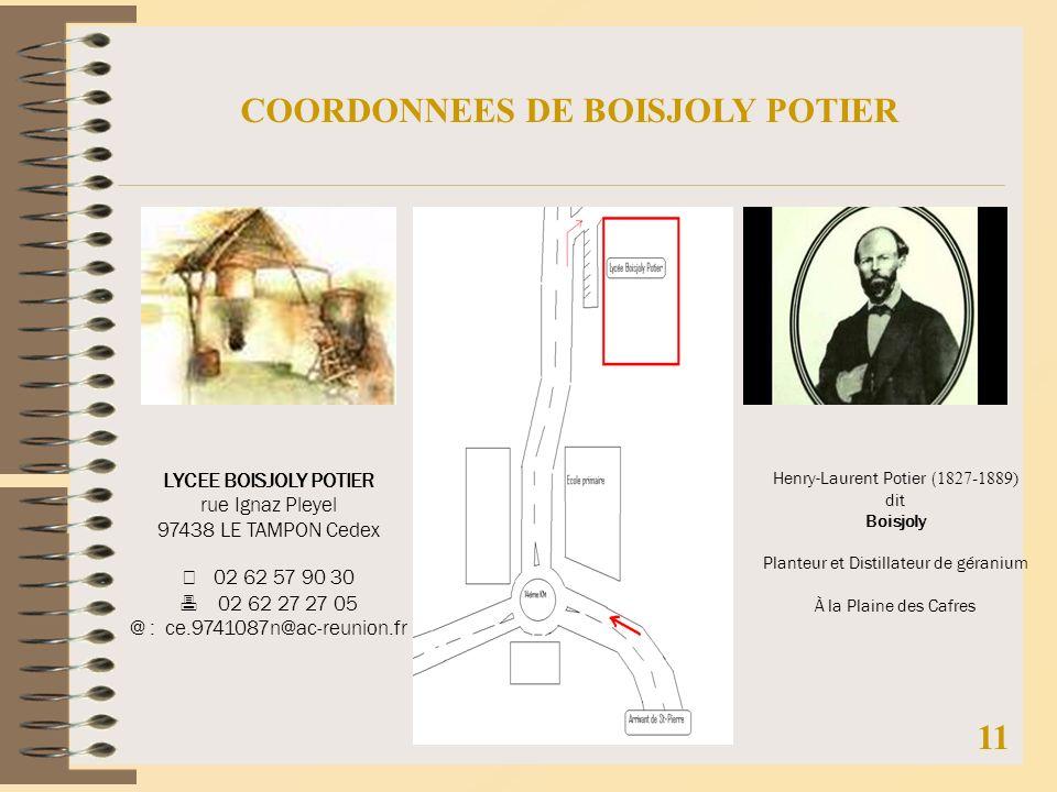 COORDONNEES DE BOISJOLY POTIER