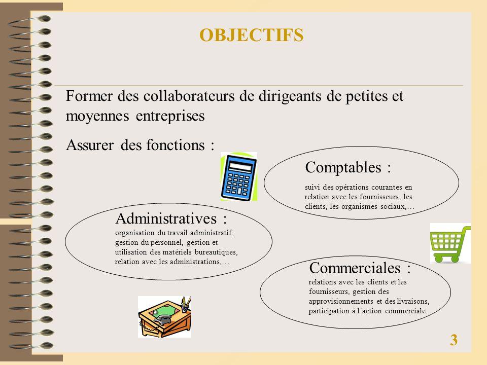 OBJECTIFS Former des collaborateurs de dirigeants de petites et moyennes entreprises. Assurer des fonctions :